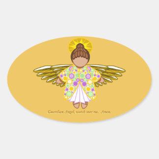 Etiqueta do anjo-da-guarda adesivo oval