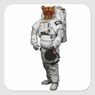Etiqueta do astronauta do tigre