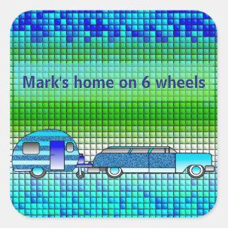 Etiqueta do azulejo do falso da caravana