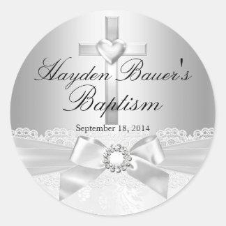 Etiqueta do baptismo da prata do arco da cruz & do adesivo
