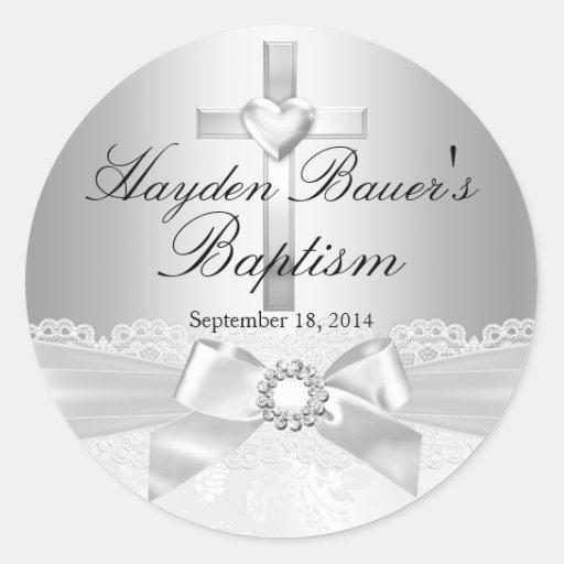 Etiqueta do baptismo da prata do arco da cruz & do adesivos redondos
