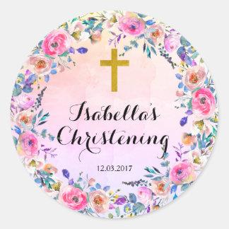 Etiqueta do baptismo do batismo - cruz do ouro adesivo