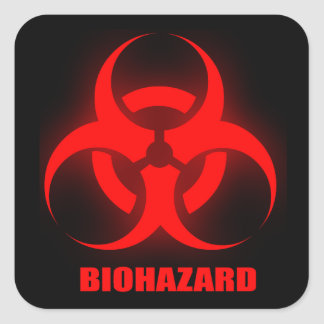 Etiqueta do BioHazard Adesivo Quadrado