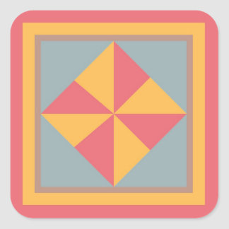 Etiqueta do bloco da edredão - Pinwheel (vermelho,