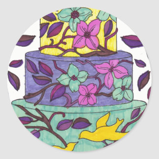 Etiqueta do bolo dos pássaros e das folhas