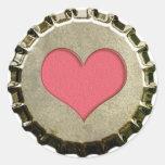 Etiqueta do boné de garrafa do coração adesivos