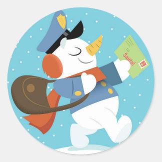 Etiqueta do boneco de neve da entrega especial