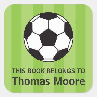 Etiqueta do bookplate da bola de futebol/etiqueta