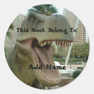 Etiqueta do Bookplate do dinossauro de T-Rex Adesivos Em Formato Redondos