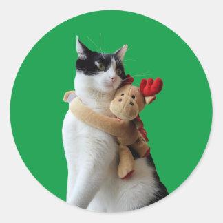 Etiqueta do brinquedo do Natal da rena do gato
