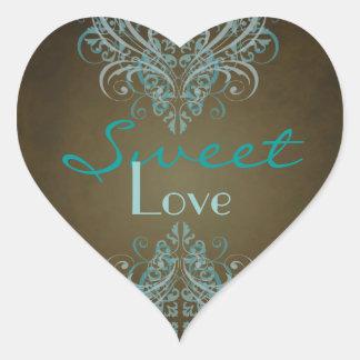 Etiqueta do bufete dos doces de Brown do rolo da Adesivo Coração