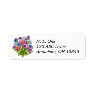 Etiqueta do buquê floral de Anenome Etiqueta Endereço De Retorno