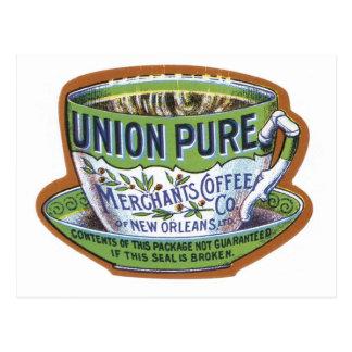 Etiqueta do café do comerciante puro da união cartão postal