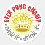 Etiqueta do campeão de Pong da cerveja Adesivos Redondos