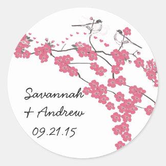 Etiqueta do casamento da flor de cerejeira do