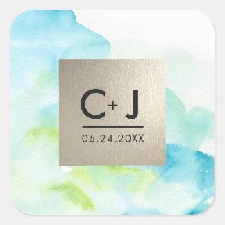 Etiqueta do casamento da folha de prata da adesivo quadrado