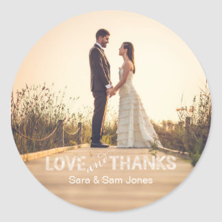Etiqueta do casamento da foto, amor e folha de adesivo
