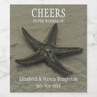 Etiqueta do casamento de praia do vinho da estrela