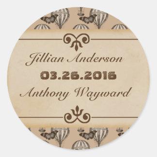 Etiqueta do casamento de Tan do balão de ar quente Adesivo