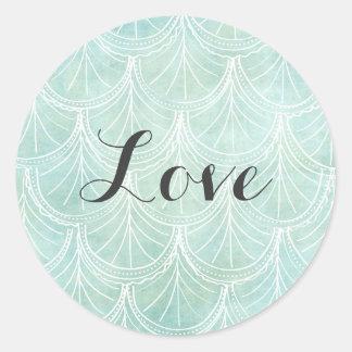 Etiqueta do casamento do amor da hortelã do laço adesivo em formato redondo