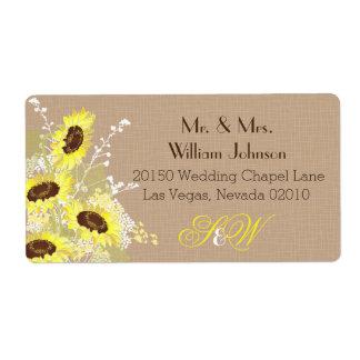 Etiqueta do casamento do buquê do girassol