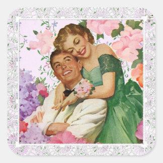 Etiqueta do casamento do casal romântico adesivo quadrado