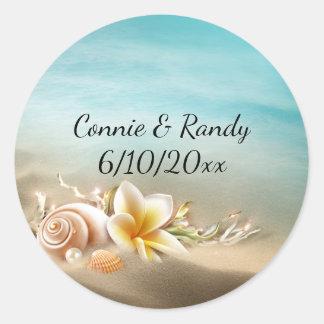 Etiqueta do casamento do destino da praia adesivo