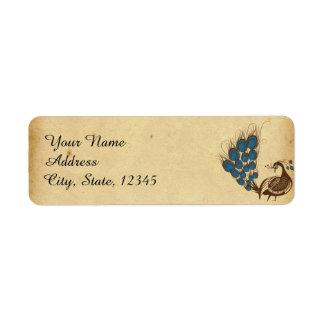 Etiqueta do casamento do monograma do pavão do
