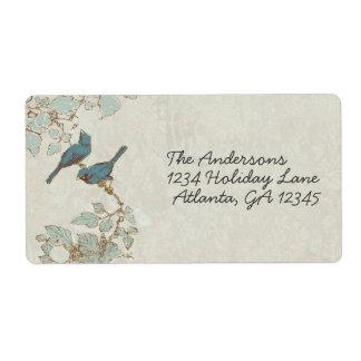 Etiqueta do casamento tema damasco dos pássaros da