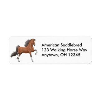 Etiqueta do cavalo de Gaited da baía Etiqueta Endereço De Retorno