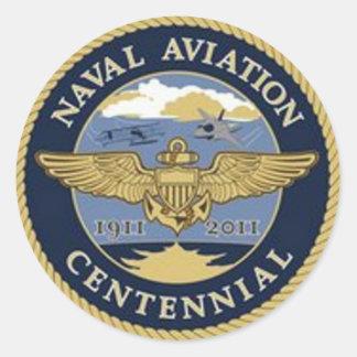 Etiqueta do Centennial da aviação naval Adesivo Em Formato Redondo