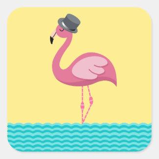 Etiqueta do chapéu alto do flamingo