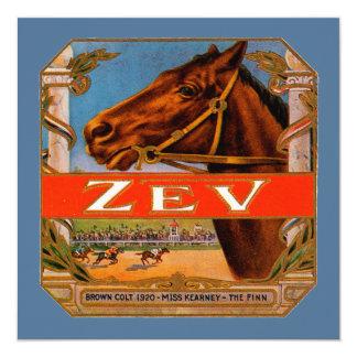Etiqueta do charuto do vintage com cavalos de convites personalizado