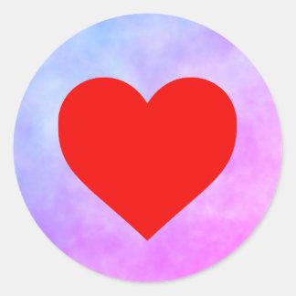 Etiqueta do círculo com coração vermelho