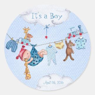 Etiqueta do círculo do menino | do chá de fraldas