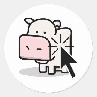 Etiqueta do Clicker da vaca Adesivos Em Formato Redondos