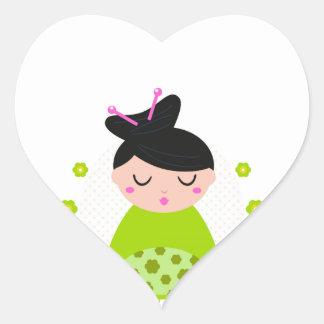 Etiqueta do coração com gueixa/verde adesivo coração