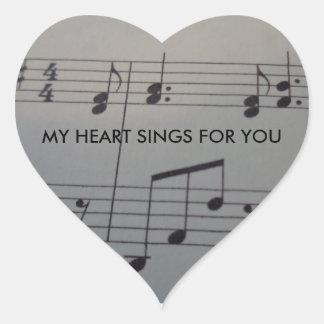 Etiqueta do coração com música e texto adesivo coração
