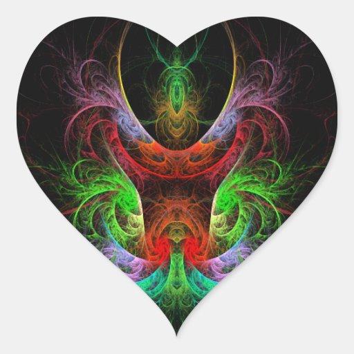 Etiqueta do coração da arte abstracta de Carnaval Adesivos De Corações
