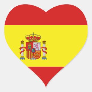 Etiqueta do coração da bandeira da espanha adesivo coração