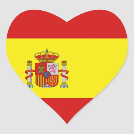 Etiqueta do coração da bandeira da espanha adesivos em forma de corações