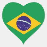 Etiqueta do coração da bandeira de Brasil Adesivo Em Forma De Coração
