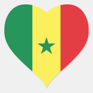 Etiqueta do coração da bandeira de Senegal