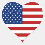 Etiqueta do coração da bandeira dos EUA Adesivo Coração