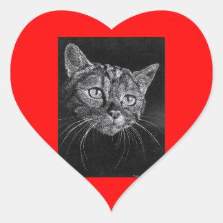 Etiqueta do coração da cara do gato