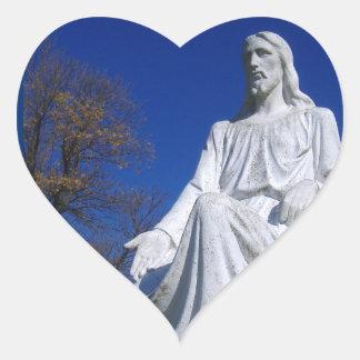 Etiqueta do coração da estátua do cristo