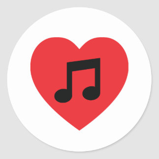 Etiqueta do coração da nota da música