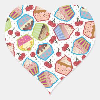 Etiqueta do coração das cerejas dos cupcakes n de adesivos de corações