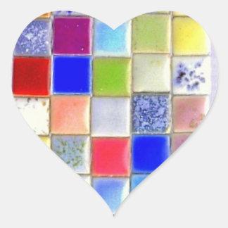 Etiqueta do coração do azulejo do mosaico