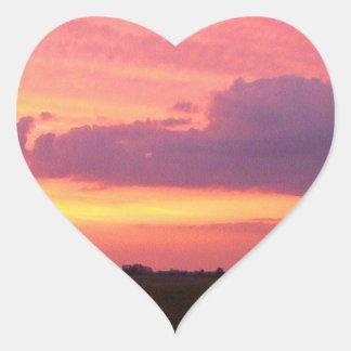 Etiqueta do coração do por do sol